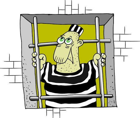 behind bars: The prisoner looks out of the window through a lattice Illustration