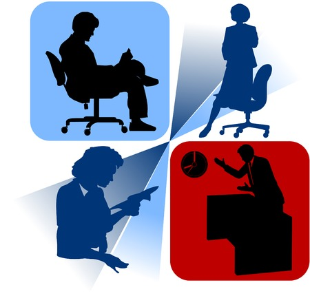 A group of corporate people silhouettes (male and female) Vector