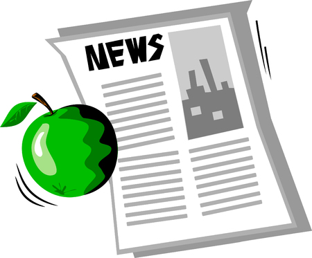 lies: The green apple lies on the open newspaper