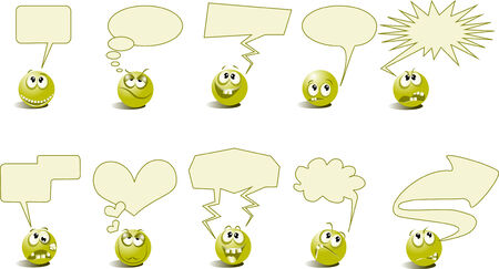 Cheerful and angry symbols talk Vector