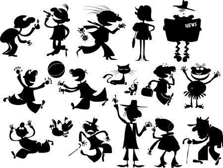 Silhouettes of people and animals in various situations Vector