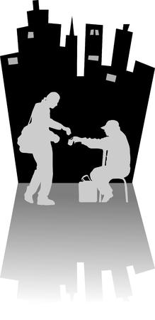 limosna: El hombre da limosna al mendigo en la calle