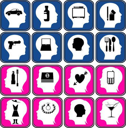 encendedores: Los s�mbolos y las im�genes en la cabeza del hombre y la mujer