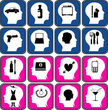 Symbols and images in a head of the man and the woman Vector