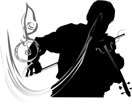 The violinist furiously plays a violin, surrounding itself with music Stock Vector - 4873435