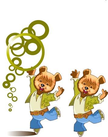 ourson: Ourson all�grement danse et jongle avec les anneaux ;  Illustration