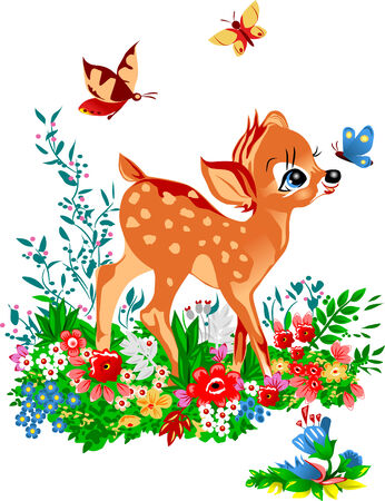 costs: young deer costs on a glade among colours; young deer;