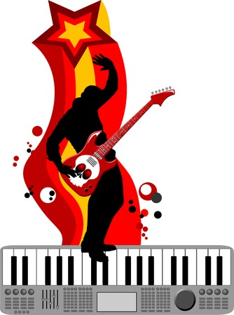 The guitarist plays solo party a guitar;  Vector