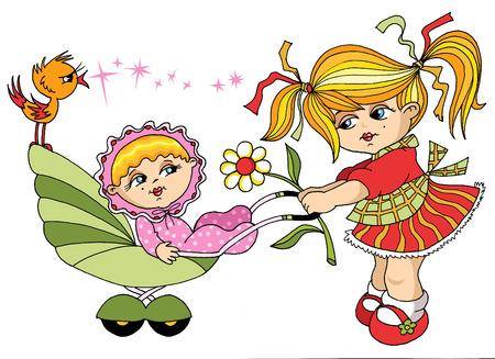 carries: La bambina porta la sorella minore in carrozza;