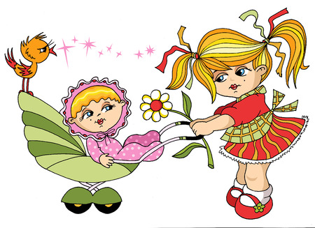 The little girl carries the younger sister in a carriage;  Vector