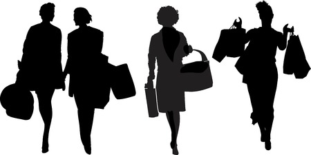 heaviness: Happy shopping woman, arms full with bags Illustration
