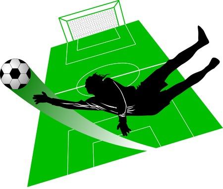 goalkeeper - the dangerous moment at gate;  Vector