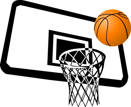 The basketball player throws a ball in a basket Vector