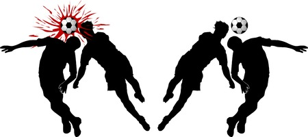 opponent: Two football players attack gate of the opponent;  Illustration