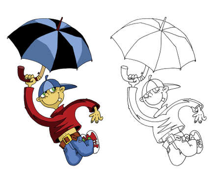 prank: The cheerful boy jumps with an umbrella;