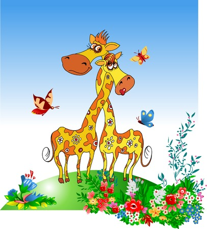 plushy: The giraffe and its girlfriend have twisted long sew around each other;