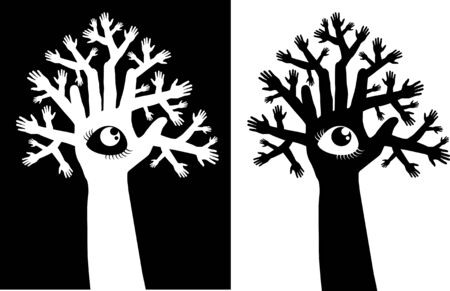 Tree from set of hands with an eye; instead of a hollow;  Vector