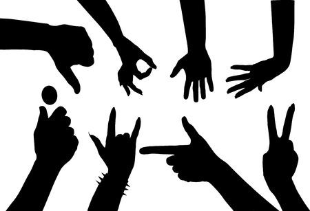 dedo me�ique: Las manos de varios gestos mostrando en dedos;
