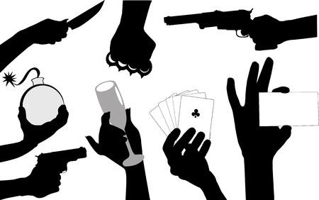 Hands various gestures showing on fingers;  Vector