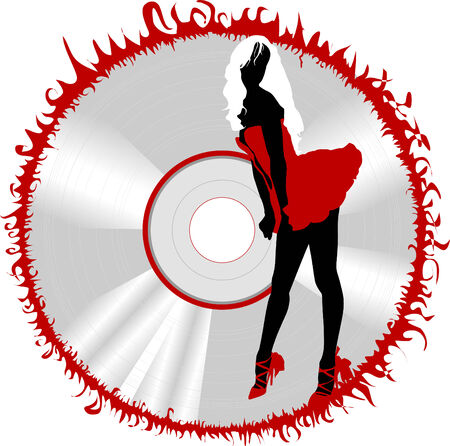 Girl dance to music in style of a disco. party-flyer Vector