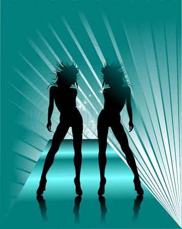 Girls invite in night club, party-flyer;  Vector