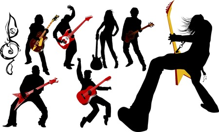 The guitarist plays solo party a guitar;  Stock Vector - 5798764