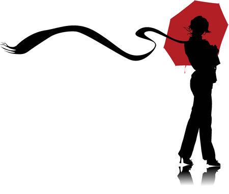 Mujer de gráfica vectoriales con paraguas