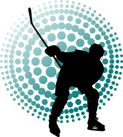 Hockey player makes a strong shot on goal rival;  Stock Vector - 6066068