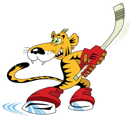 year of the tiger: tiger cub playing hockey Illustration