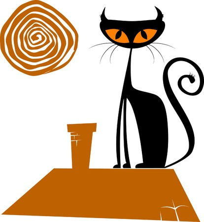 Black cat silhouette for your design (illustration),  Stock Vector - 6172770