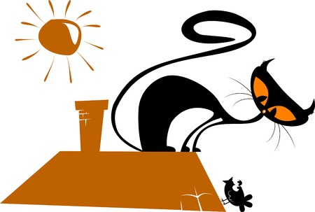 Black cat silhouette for your design (illustration),  Vector