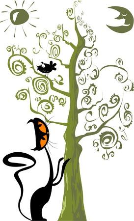 Schwarze Katze Silhouette für Ihr Design (Abbildung)