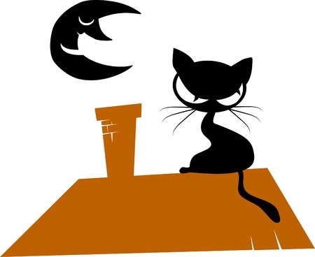 Black cat silhouette for your design (illustration)  Vector