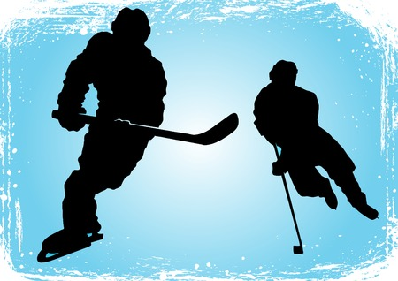 defense equipment: Hockey player makes a strong shot on goal rival;