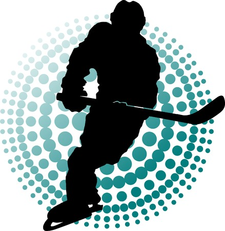 Hockey player makes a strong shot on goal rival;  Stock Vector - 6181068