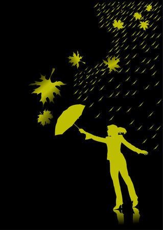 Vector graphic woman with umbrellas; Stock Vector - 6201359
