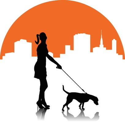 busty: A woman with a dog on the background of the cityscape;