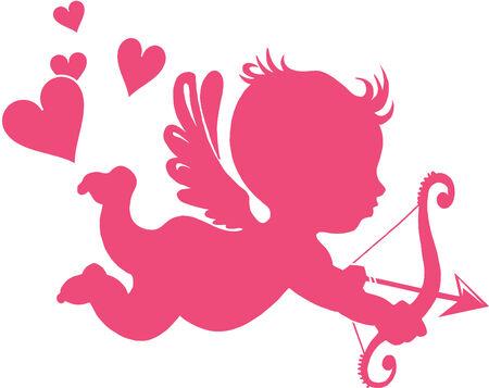Cupido felice con arco e freccia - illustrazione vettoriale;