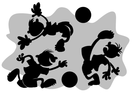 The group of football players plays football on a gray background;  Vector