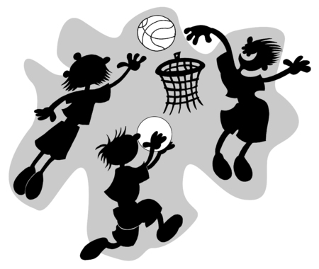 basketball player throws a ball in a basket (silhouette) Vector