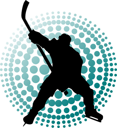 Hockey player makes a strong shot on goal rival; Stock Vector - 6304713