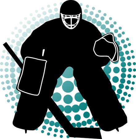 Hokej na trawie bramkarz ma chronić brama;  Ilustracje wektorowe