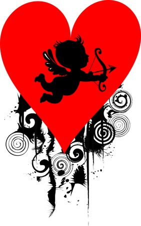 Happy Cupid with bow and arrow  illustration,  Vector