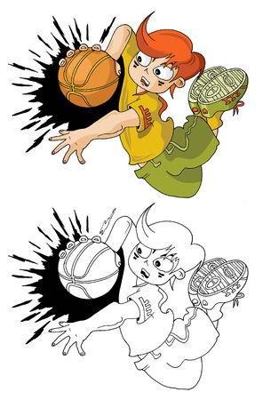 basketball player; shot scores a ball in the basket;  Vector