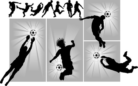 football player attack gate of the opponent (vector and illustration); Stock Vector - 6520233