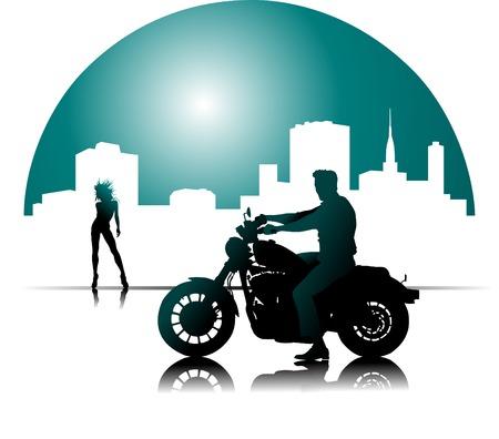 moteros: motocicleta negra de fuego en la calle de noche;  Vectores