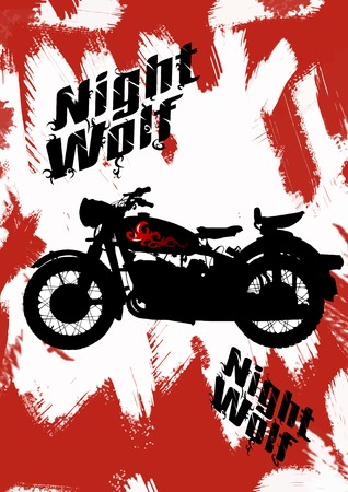 black motorcycle on fire on the night street; Stock Vector - 6558423