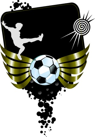 football silhouette: football players plays football on a black background