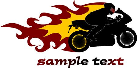 motorrad frau: Schwarze Motorrad auf Feuer auf der Nacht-Stra�e