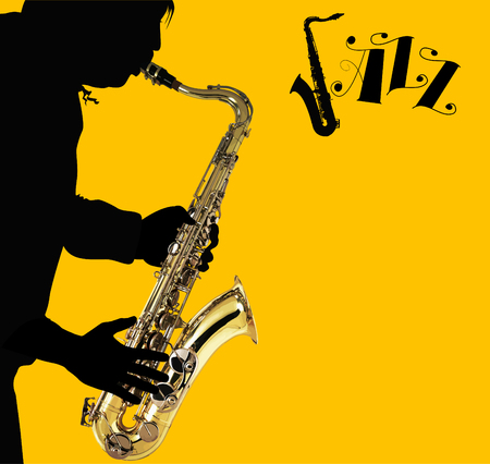 sax: Man with saxophone on a yellow background;